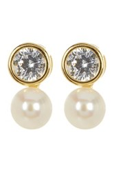 Argentovivo 18K Gold Plated Sterling Silver 6Mm Genuine Freshwater Pearl And Bezel Cz Earrings Metallic