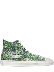 Gienchi Studded And Leaf Printed Leather Sneakers Green