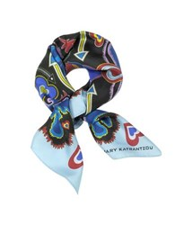Mary Katrantzou Heart Flames Twill Silk Square Scarf Light Blue
