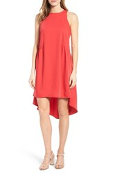 Pleione Women's Ruffled High Low Shift Dress Red Saucy