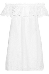 Tory Burch Off The Shoulder Broderie Anglaise Cotton Mini Dress White
