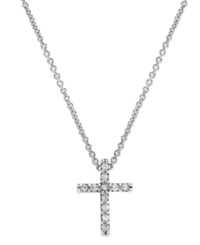 B. Brilliant Sterling Silver Cubic Zirconia Mini Cross Necklace 1 10 Ct. T.W.