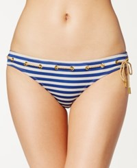Jessica Simpson Striped Nautical Hipster Bikini Bottom Women's Swimsuit Marine