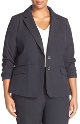 Sejour Plus Size Women's 'Ela' Two Button Stretch Suit Jacket Navy Midnight
