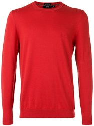 Hugo Boss Crew Neck Jumper Men Cotton M Red