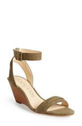 Women's Sole Society 'Georgia' Ankle Strap Wedge Sandal Army Suede