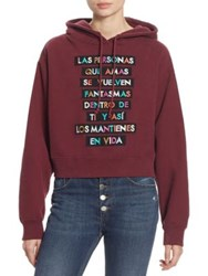 Each X Other Embroidered Text Cotton Hoodie Burgundy