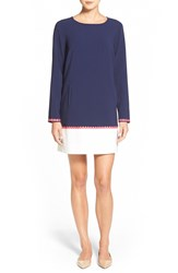 Vineyard Vines Embroidered Colorblock Shift Dress Nautical Navy
