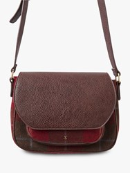 Joules Darby Tweed Saddle Bag Red Check