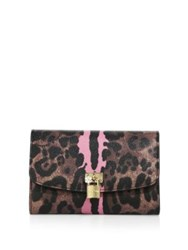 Dolce And Gabbana Leopard Print French Flap Wallet Brown