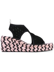 Kenzo Wedge Espadrille Sandals Women Cotton Rubber 39 Black