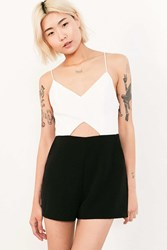 Silence And Noise Strappy Cutout Colorblock Romper Black And White