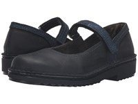 Naot Footwear Hilda Oily Coal Nubuck Navy Reptile Leather Women's Shoes