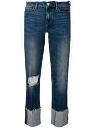 Frame Distressed Straight Jeans Blue