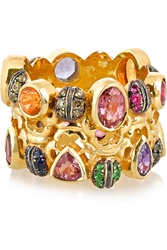 Daniela Villegas Color Wheel 18 Karat Gold Multi Stone Ring