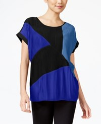 Ny Collection Mixed Media Pleated Top Jet Black Surf The Web French Blue