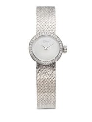 Christian Dior La D De Diamond And Stainless Steel Bracelet Watch Silver