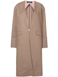Undercover Mid Length Collarless Coat Brown
