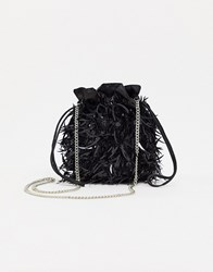 Skinnydip Black Cross Body Bag In Glitter Feather With Drawstring