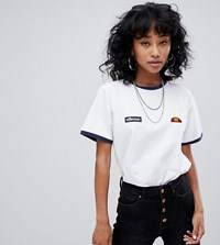 Ellesse Ringer T Shirt With Embroidered Chest Logo White