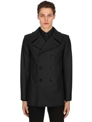 Saint Laurent Double Breasted Wool Cloth Peacoat Navy