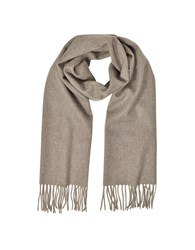 Mila Schon Long Scarves Cashmere And Wool Brown Fringed Long Scarf