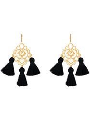 Marte Frisnes Rita Tassel Earrings Cotton Brass Black