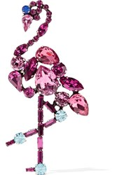Marc Jacobs Flamingo Silver Tone Crystal Brooch Pink