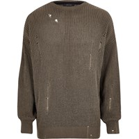 River Island Dark Green Knit Oversized Fisherman Jumper