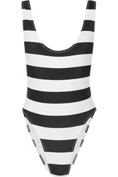 Norma Kamali Marissa Striped Swimsuit Black