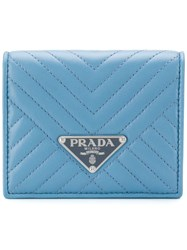 Prada Quilted Small Wallet Blue
