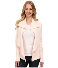 Mod O Doc Slub French Terry Double Drape Collar Cardigan Ballerina Women's Sweater Pink