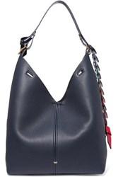 Anya Hindmarch Bucket Small Textured Leather Tote Navy