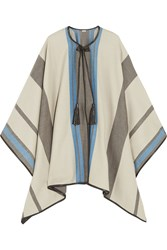 Talitha Striped Cashmere And Wool Blend Cape White