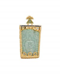 Coomi Antiquity Carved Pre Colombian Jade Pendant With Diamonds