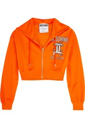 Moschino Cropped Printed Jersey Hooded Top Orange