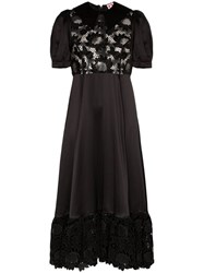Shrimps Lace Panel Silk Midi Dress Black