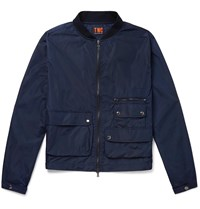 The Workers Club Cotton Shell Bomber Jacket Blue