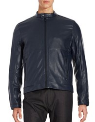 Calvin Klein Perforated Faux Leather Item Jacket Cadet Blue