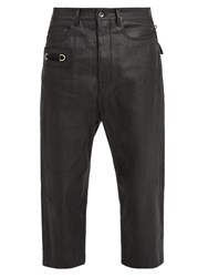 Rick Owens Tapered Leg Cropped Coated Jeans Black