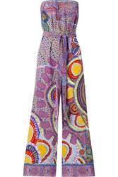 Camilla Strapless Belted Crystal Embellished Printed Silk Crepe Jumpsuit Purple