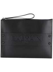 Balmain Logo Zipped Clutch Black