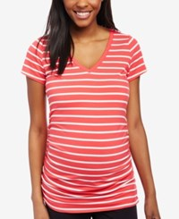 Motherhood Maternity Ruched V Neck T Shirt Teaberry Wht Stripe