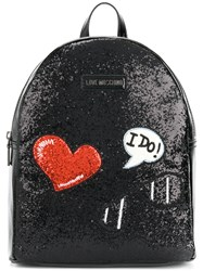 Love Moschino Glitter Embroidered Patch Backpack Polyurethane Black