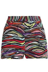 Missoni Printed Cotton Blend Crochet Knit Shorts Black