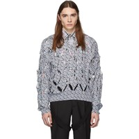 Burberry Blue And White 'Tb' Cut Out V Neck Sweater
