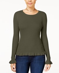 Hooked Up By Iot Juniors' Ruffle Hem Sweater True Olive