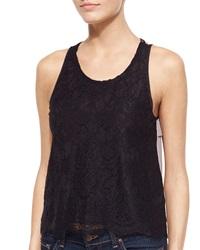 Madison Marcus Lace Pleated Back Tank Black Taupe