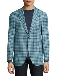 Isaia Gingham Checked Single Breasted Wool Blend Blazer Bright Green