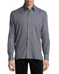 Ike Behar Check Sport Shirt Blue Navy